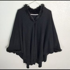 Faux Fur Trimmed Poncho One Size